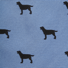 Woven Black Lab Bow - Blue
